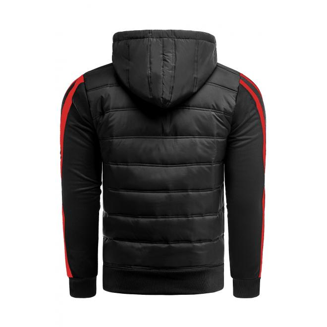 Prechodná pánska bunda čiernej farby s kapucňou