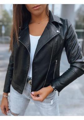 Čierna koženková bunda pre dámy