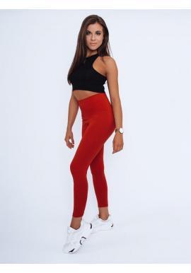 Klasické dámske legíny červenej farby s vysokým pásom