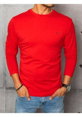 Červené hladké tričko s dlhým rukávom pre pánov