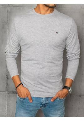 Hladké pánske tričko sivej farby s dlhým rukávom