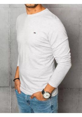 Pánske hladké tričko s dlhým rukávom v svetlosivej farbe