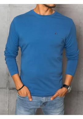 Modré hladké tričko s dlhým rukávom pre pánov