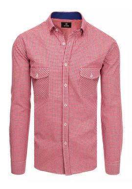 Červeno-biela kockovaná košeľa s vreckami na hrudi pre pánov