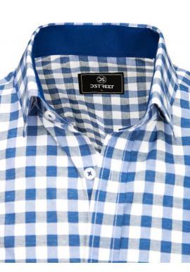 Kockovaná pánska košeľa modro-bielej farby s vreckami na hrudi