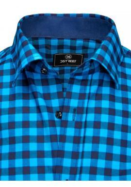 Pánska kockovaná košeľa s vreckami na hrudi v modrej farbe