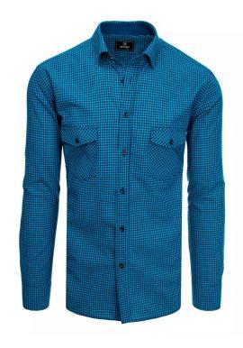 Modro-čierna kockovaná košeľa s dlhým rukávom pre pánov