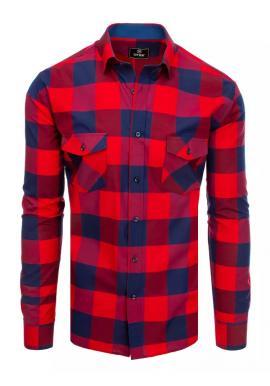 Kockovaná pánska košeľa bordovo-modrej farby s dlhým rukávom