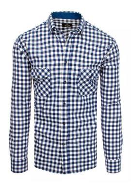 Pánska kockovaná košeľa s dlhým rukávom v modro-bielej farbe