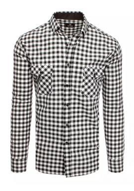 Čierno-biela kockovaná košeľa s vreckami na hrudi pre pánov