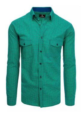 Kockované pánske košele modro-zelenej farby s dlhým rukávom