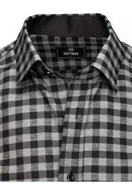 Pánska kockovaná košeľa s vreckami na hrudi v sivo-čiernej farbe
