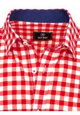 Červeno-biela kockovaná košeľa s dlhým rukávom pre pánov