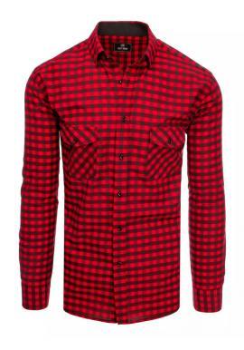 Kockovaná pánska košeľa červeno-čiernej farby s vreckami na hrudi