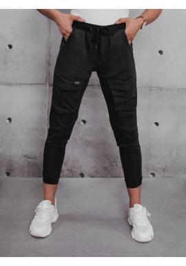 Čierne športové nohavice s gumou v páse pre dámy