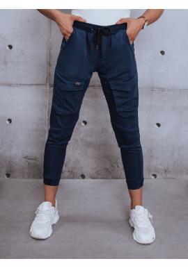 Športové dámske nohavice tmavomodrej farby s gumou v páse
