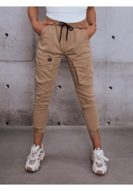 Dámske športové nohavice s gumou v páse v béžovej farbe