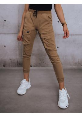 Hnedé športové nohavice s gumou v páse pre dámy