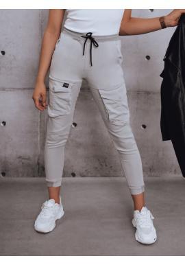 Športové dámske nohavice svetlosivej farby s gumou v páse