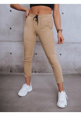 Štýlové dámske nohavice béžovej farby s gumou v páse