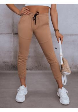 Dámske štýlové nohavice s gumou v páse v hnedej farbe
