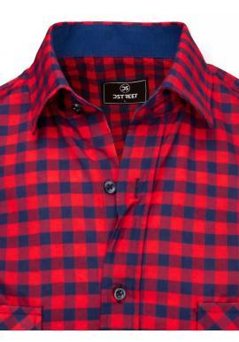 Pánska kockovaná košeľa s vreckami na hrudi v modro-červenej farbe