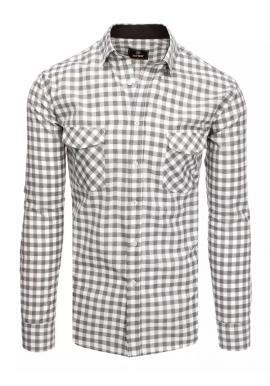 Sivo-biela kockovaná košeľa s vreckami na hrudi pre pánov