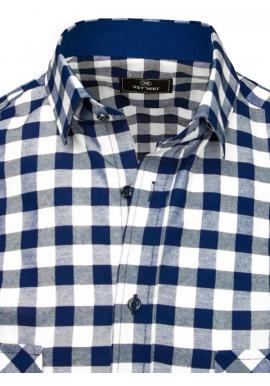 Kockované pánske košele modro-bielej farby s vreckami na hrudi