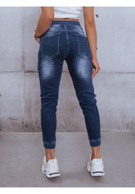 Tmavomodré riflové nohavice s gumou v páse pre dámy