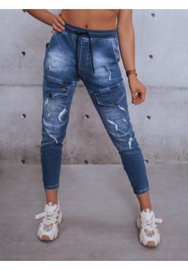 Dámske riflové nohavice s gumou v páse v modrej farbe