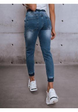 Modré riflové nohavice s gumou v páse pre dámy