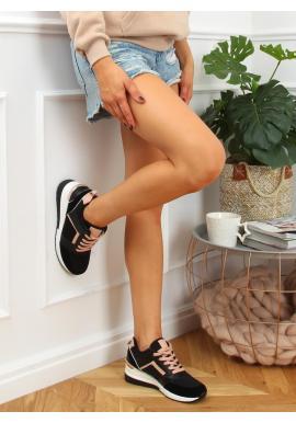 Dámske módne tenisky na klinovom podpätku v čiernej farbe