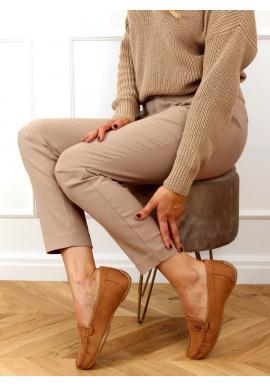 Hnedé semišové mokasíny s ozdobou pre dámy