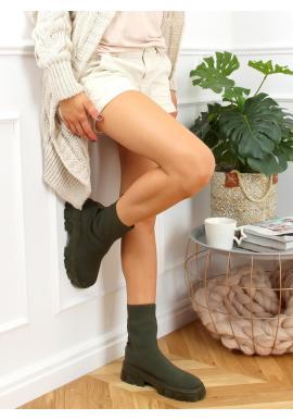 Zelené ponožkové čižmy na širokom podpätku pre dámy