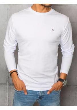 Pánske hladké tričká s dlhým rukávom v bielej farbe