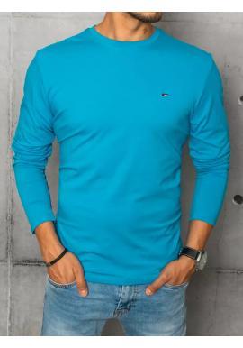 Tyrkysové hladké tričko s dlhým rukávom pre pánov