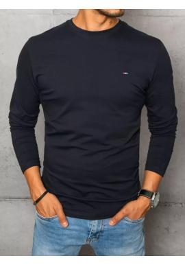 Hladké pánske tričko tmavomodrej farby s dlhým rukávom