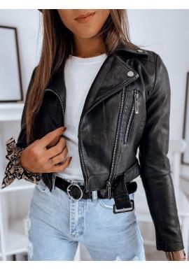 Čierna kožená bunda s opaskom pre dámy