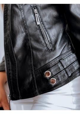 Čierna kožená bunda s golierom pre dámy