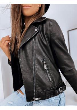 Dámska štýlová kožená bunda v čiernej farbe