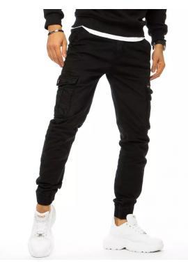 Športové pánske nohavice čiernej farby s cargo vreckami