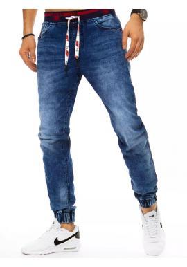 Pánske riflové nohavice s gumou v páse v modrej farbe