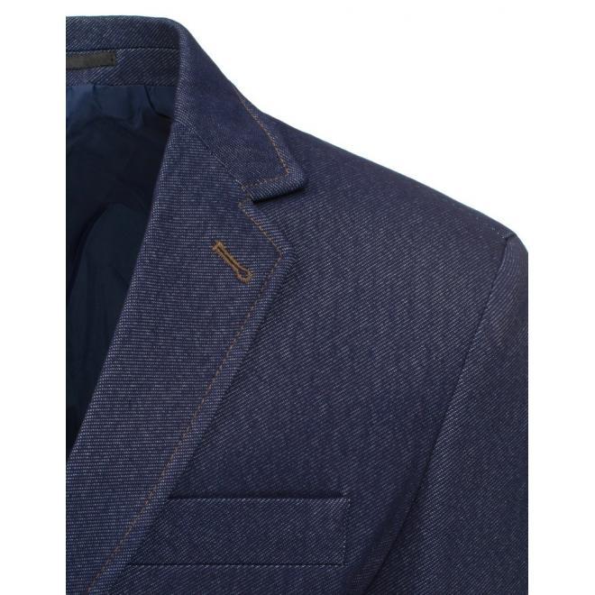Pánske sako tmavomodrej farby v neformálnom štýle