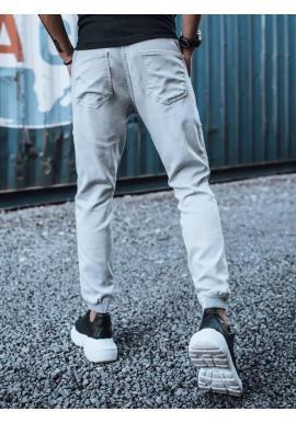Štýlové pánske joggery svetlosivej farby s cargo vreckami