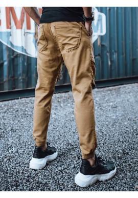 Pánske štýlové joggery s cargo vreckami v hnedej farbe