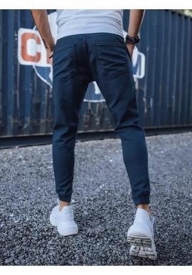 Štýlové pánske joggery tmavomodrej farby s cargo vreckami