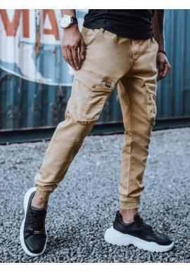 Pánske štýlové joggery s cargo vreckami v béžovej farbe