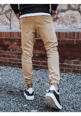 Béžové módne joggery s gumou v páse pre pánov