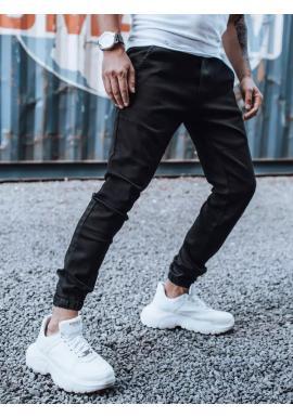 Módne pánske joggery čiernej farby s gumou v páse