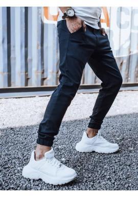 Pánske módne joggery s gumou v páse v tmavomodrej farbe